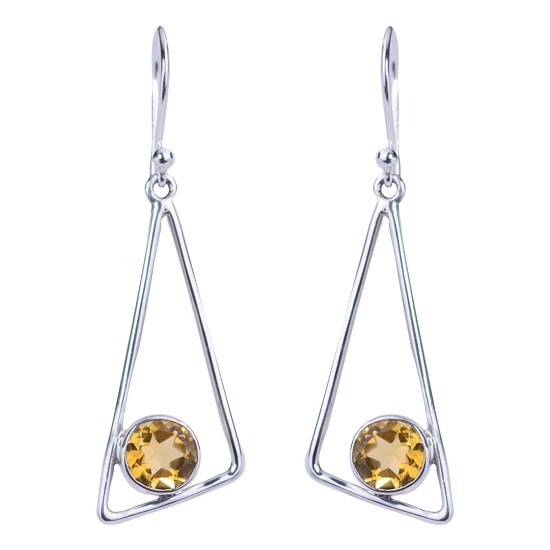 Citrine Golden Triangle Earrings