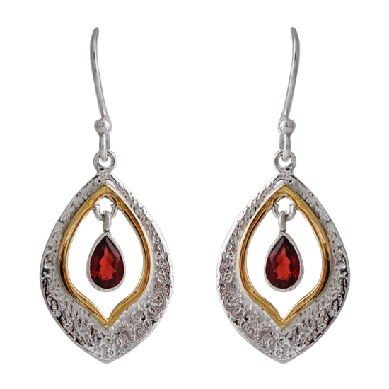 Garnet Tear Earrings