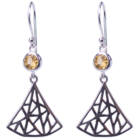 Citrine Labyrinth Fan Earrings