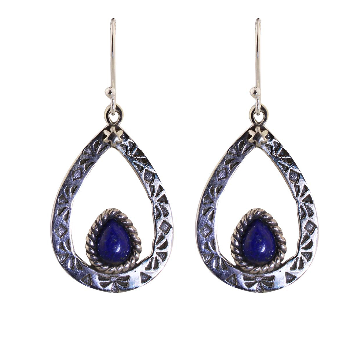 Lapis Lazuli Silver Tear Earrings.