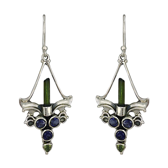 Green Tourmaline Mystic Candella Earrings