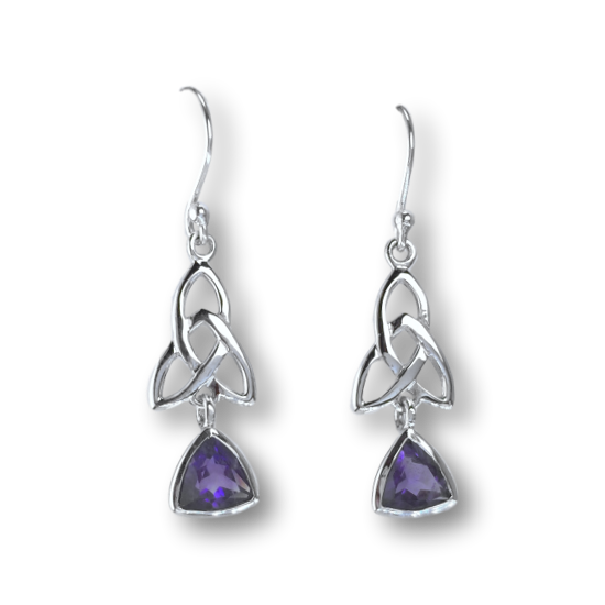 Amethyst Celtic Triquetra Trinity Knot Earrings