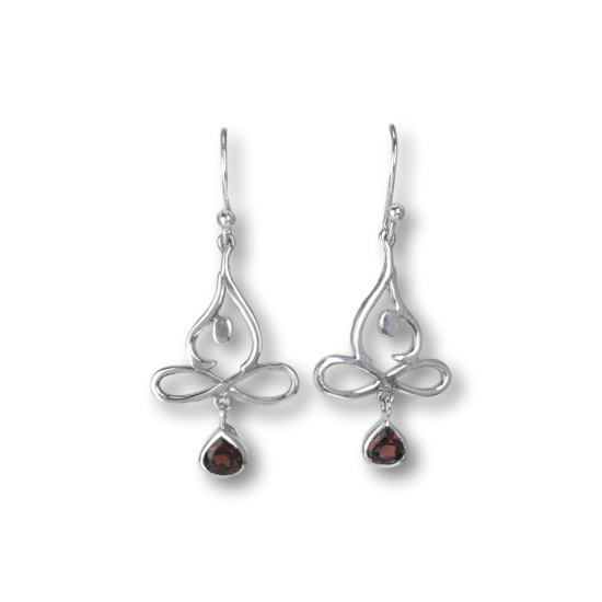 Garnet Flowing Lotus Pose Earrings