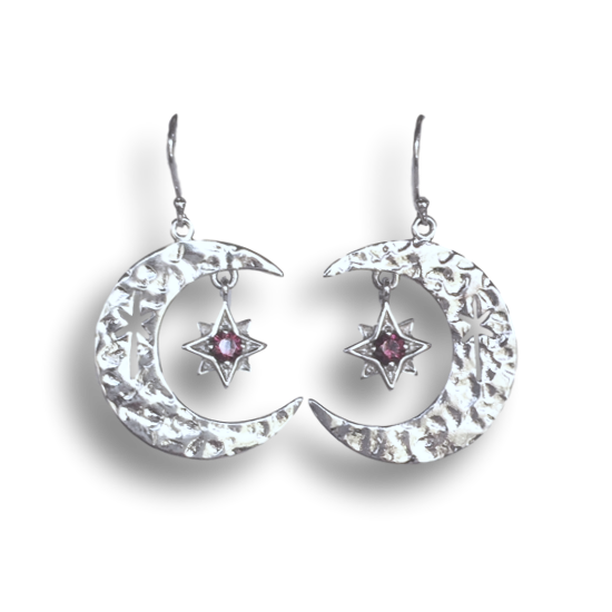 Garnet Cresent Moon North Star Earrings