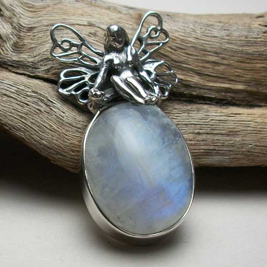 Rainbow Moonstone Fairy Pendant