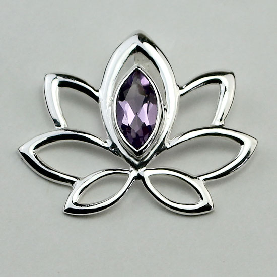 Lotus of the Lake Amethyst Pendant