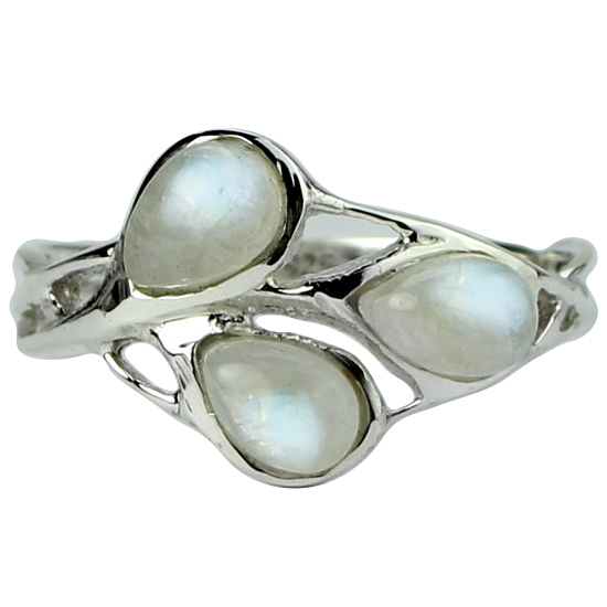 Moonstone Rainbow Buds Ring