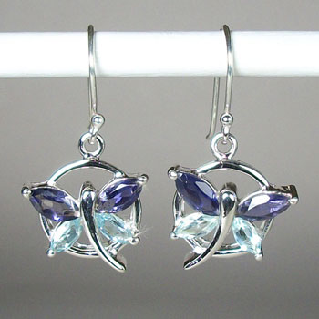 Iolite and Blue Topaz Dragonfly Earrings
