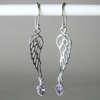 Angel Wings Amethyst Earrings