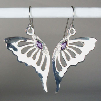 Amethyst Fluttering Butterfly Earrings