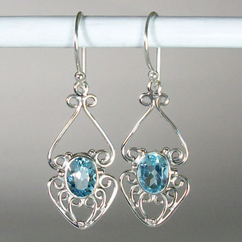 Blue Topaz Filigree Florets Earrings