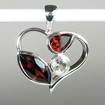 Garnet/Crystal Fire & Ice Heart Pendant