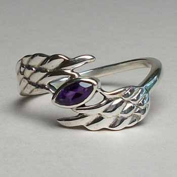 Angel Wing Amethyst Ring