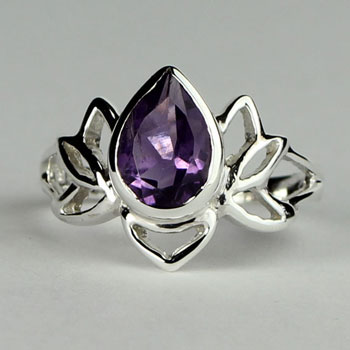 Amethyst Lotus Ring