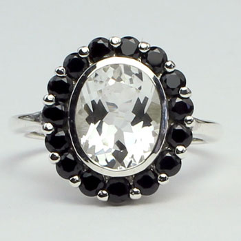 Black Spinel & White Topaz Exotica Ring