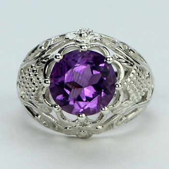 Amethyst Celtic Thistle Ring
