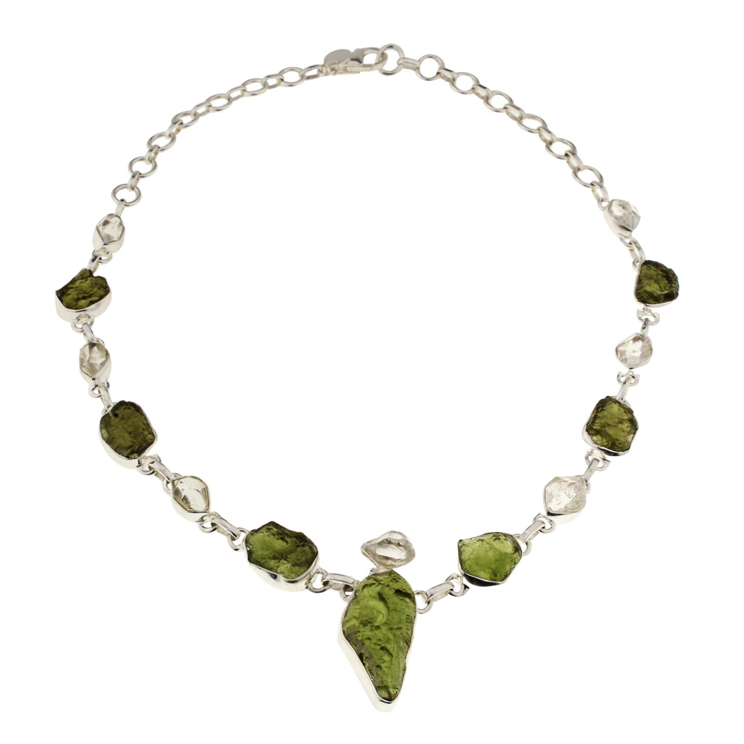 Moldavite Herkimer Diamond Supreme Necklace
