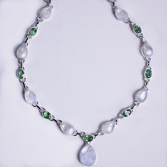 Moonstone Green Kyanite Necklace