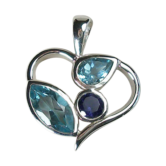 Topaz Iolite Fun Loving Heart Pendant