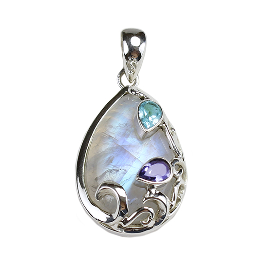 Sterling Fine Silver Gemstone Pendants