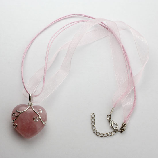 Rose Quartz Heart Candy Necklace