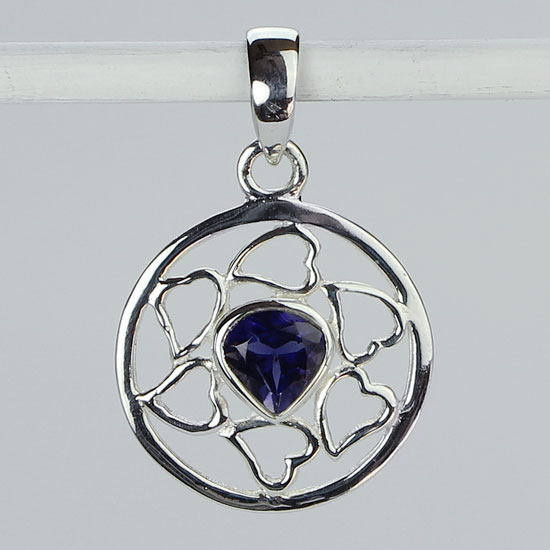 Iolite Lotus of the Heart Pendant