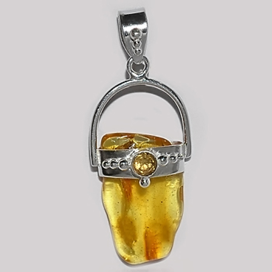 Baltic Amber Citrine Honey Pendant