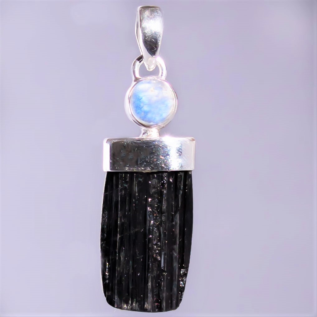 Black Tourmaline Moonstone Pendant