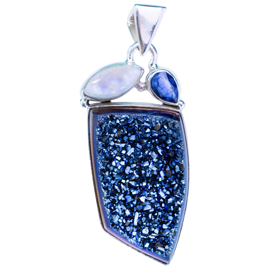 Blue Druzi Kyanite Moonstone Pendant