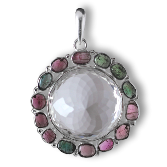 Tourmaline and Faceted Quartz Crystal Goddess Pendant
