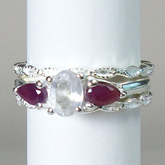 Ruby & Crystal Stack Ring