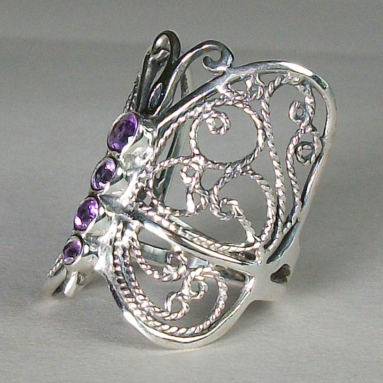 Amethyst Butterfly Filligree Ring