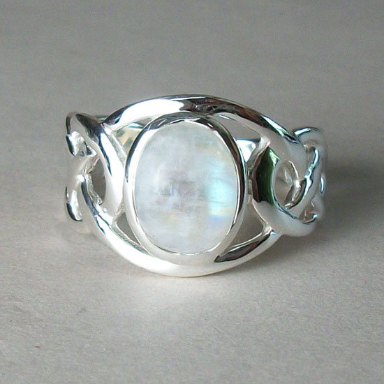 Moonstone Celtic Love Knot Ring