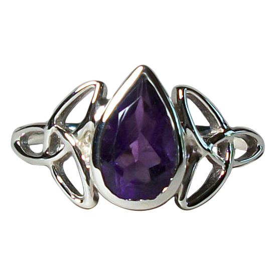 Amethyst Celtic Triskelion Ring