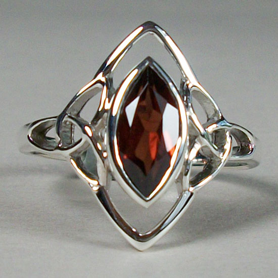 Garnet Celtic Triskelion Ring