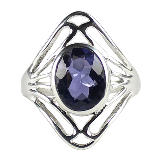Iolite Shield Ring
