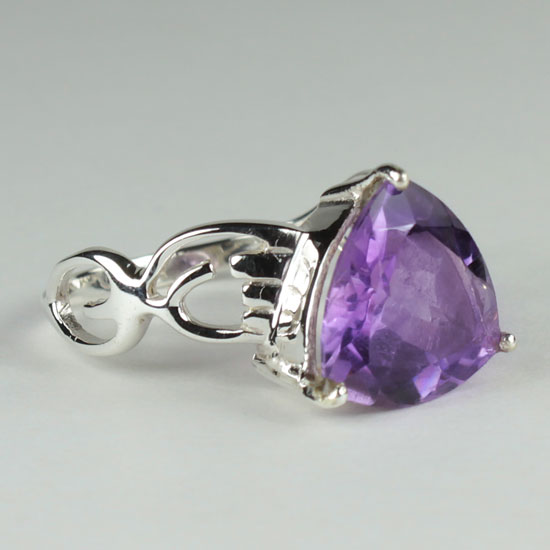 Amethyst Fancy Trillion Ring