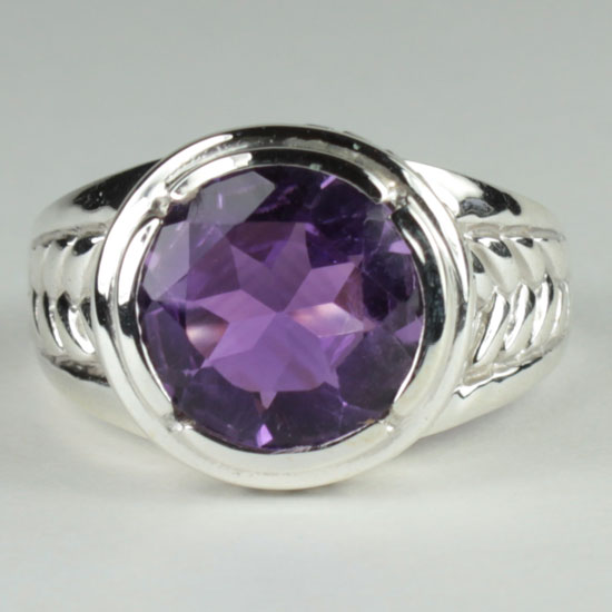 Amethyst Faceted Cool Ring