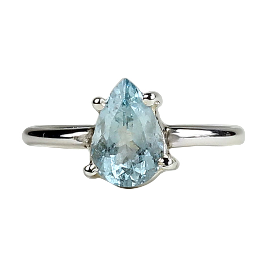 Aquamarine Faceted Tear Ring