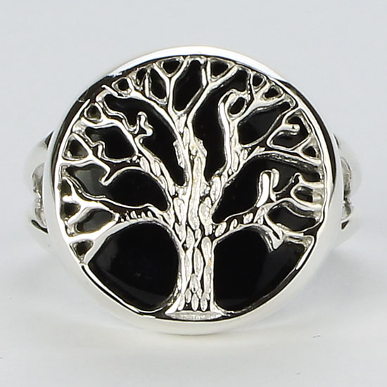Black Onyx Tree of Life Ring
