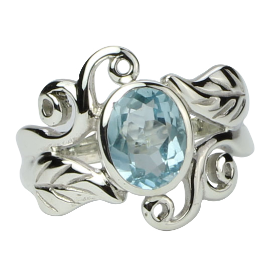 Blue Topaz Harmonious Swirls Ring