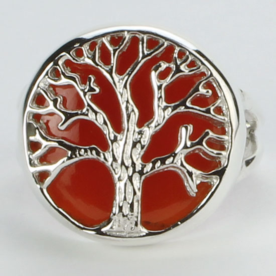 Red Onyx Tree of Life Ring