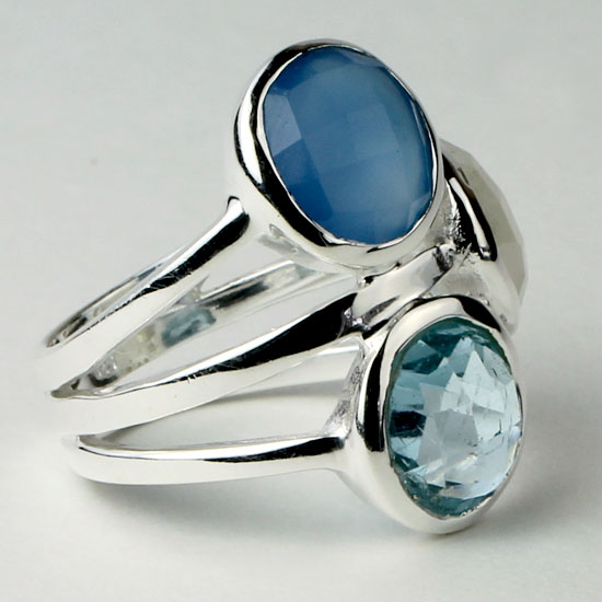 Chalcedony, Blue Topaz and Moonstone Cushion Ring