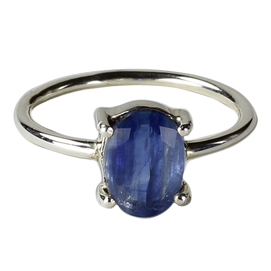 Kyanite Blue Faceted Ring