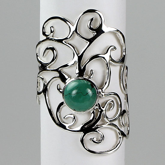 Turquoise Spirals and Swirls Ring
