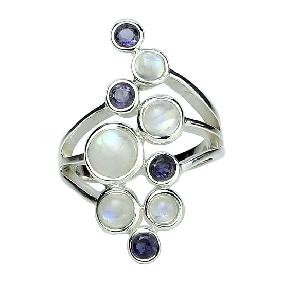 Moonstone, Iolite & Topaz Party Ring