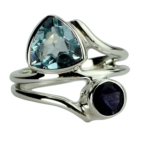 Blue Topaz & Iolite Skylight Ring