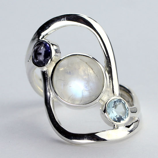 Moonstone Blues Ring