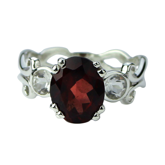 Garnet Fire and Ice Ring