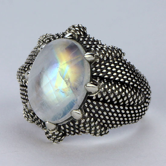 Moonstone Dragon Claw Unisex Ring